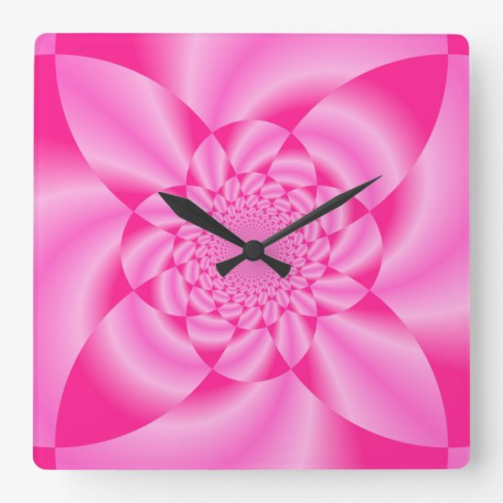 Pink Leaf Petal Square Wall Clock