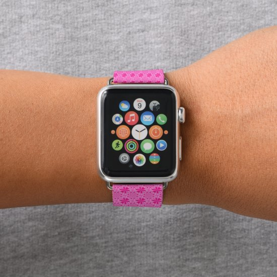 Pink Leaf Petal - Tiles Apple Watch Band