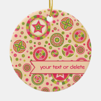 Pink Leaf Starry Circles with banner Ceramic Ornament