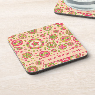 Pink Leaf Starry Circles with banner Drink Coaster