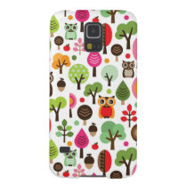 pink leaf tree retro owl pattern case for galaxy s5