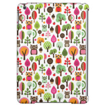 pink leaf tree retro owl pattern case for iPad air