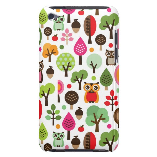 pink leaf tree retro owl pattern Case-Mate iPod touch case