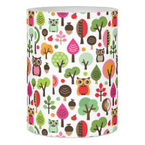 pink leaf tree retro owl pattern flameless candle