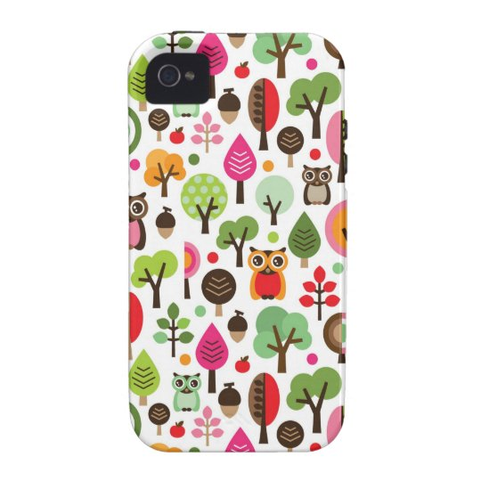 pink leaf tree retro owl pattern iPhone 4/4S cover