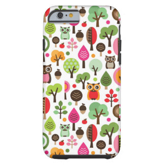 pink leaf tree retro owl pattern iPhone 6 case