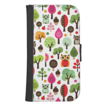 pink leaf tree retro owl pattern phone wallet