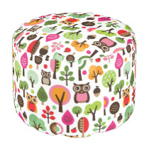 pink leaf tree retro owl pattern pouf