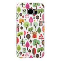 pink leaf tree retro owl pattern samsung galaxy s6 case