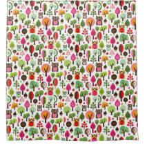 pink leaf tree retro owl pattern shower curtain