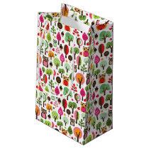 pink leaf tree retro owl pattern small gift bag