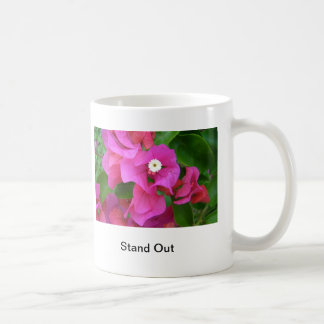 Pink Leafs and White flower, Stand Out Coffee Mug
