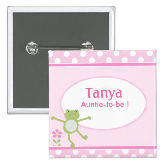 Pink Leap Frog Baby Shower Name Tag Button