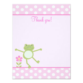 Pink Leap Frog Girly Froggy Flat thank you note Card