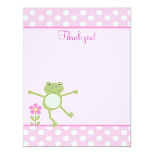 Pink Leap Frog Girly Froggy Flat thank you note 4.25x5.5 Paper Invitation Card