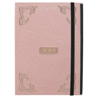 Pink Leather Effect, Rose Gold Faux Metal Corners iPad Pro Case
