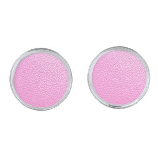 Pink Leather-look Cufflinks