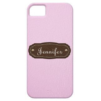 Pink Leather Look personalized iPhone 5 iPhone 5 Cover