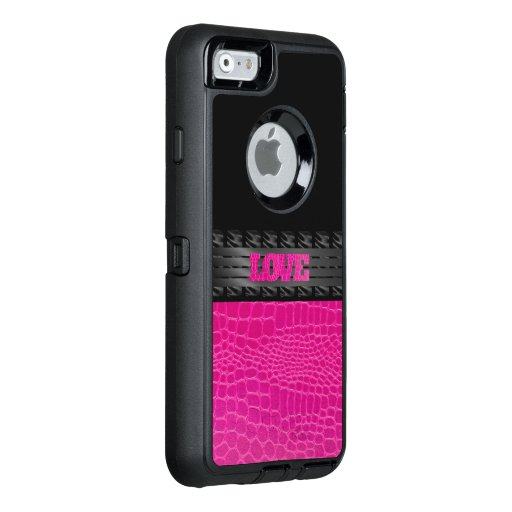 Pink Leather Love OtterBox iPhone 6/6s Case : Zazzle