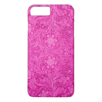 Pink Leather Print Floral Pattern iPhone 8 Plus/7 Plus Case