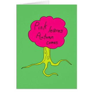 Pink leaves, Autumn comes Card