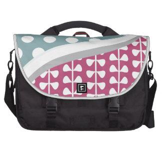 Pink Leaves Blue Polka Dots Pattern Laptop Messenger Bag