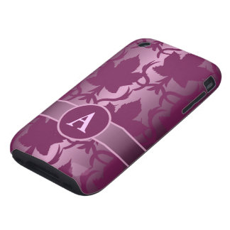 pink leaves damask monogram iPhone 3 tough cover
