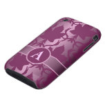 pink leaves damask monogram iPhone 3 tough covers