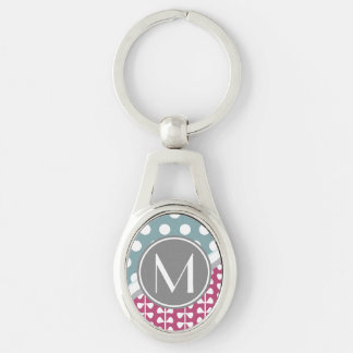 Pink Leaves Dots Custom Monogram Oval Keychain Silver-Colored Oval Keychain