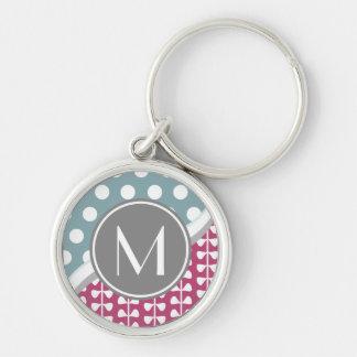 Pink Leaves Dots Custom Monogram Round Keychain
