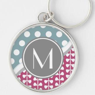 Pink Leaves Dots Custom Monogram Round Keychain L