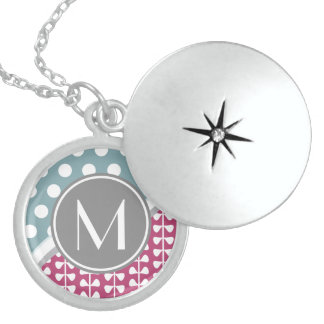 Pink Leaves Dots Custom Monogram Round Locket