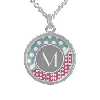 Pink Leaves Dots Custom Monogram Round Necklace