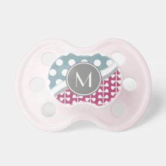 Pink Leaves Polka Dots Custom Monogram Pacifier BooginHead Pacifier