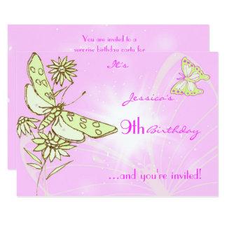 Pink Lemon Lime Butterfly Birthday RSVP Card