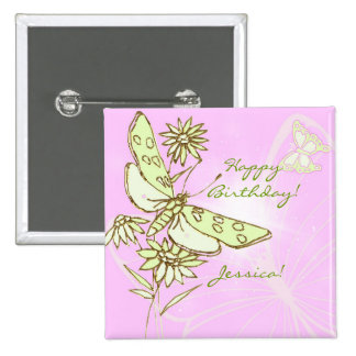 Pink Lemon LIme Butterfly Button