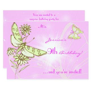Pink Lemon LIme Butterfly Invitation Card