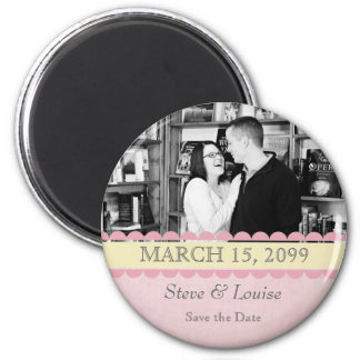 Pink & Lemon Wedding Save the Date Photo Frame 2 Inch Round Magnet