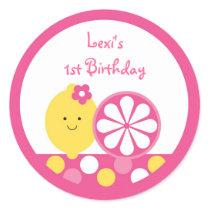 Pink Lemonade 1st Birthday Classic Round Sticker