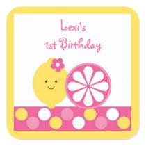 Pink Lemonade 1st Birthday Square Sticker