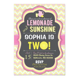 Pink Lemonade 2nd Birthday Chevron Invitation