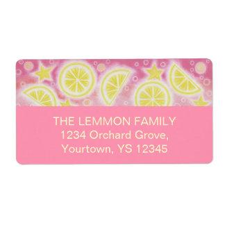 Pink Lemonade address label large pink
