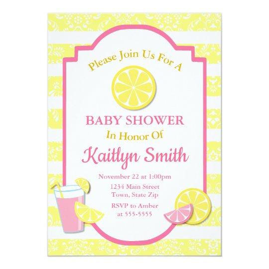 pink lemonade baby shower invitation lemon