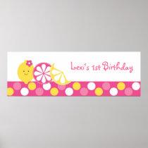 Pink Lemonade Birthday Banner Poster