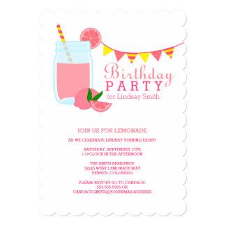 Pink Lemonade Birthday Party 5x7 Paper Invitation Card