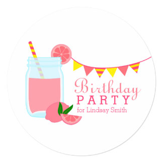 "Pink Lemonade Birthday Party 5.25"" Square Invitation Card"