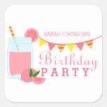 Pink Lemonade Birthday Party Square Sticker