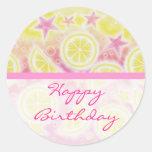 Pink Lemonade 'Birthday' sticker round stripe