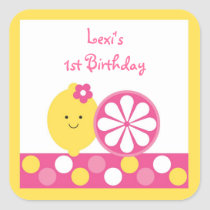 Pink Lemonade Birthday Stickers