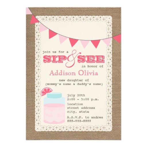 pink lemonade burlap inspired sip see baby girl custom invites